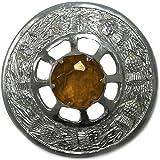 Tartanista Spillone circolare per stola fly plaid e kilt scozzese con pietra gialla