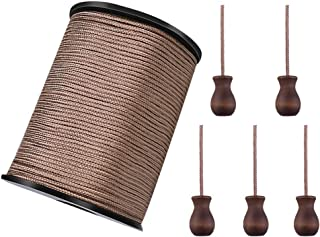 WXJ13 One Roll 50 Yards Brown Braided Nylon Lift Shade Cord with 5 Pack Brown Wood Cord Knobs, 1.8 mm (Brown)