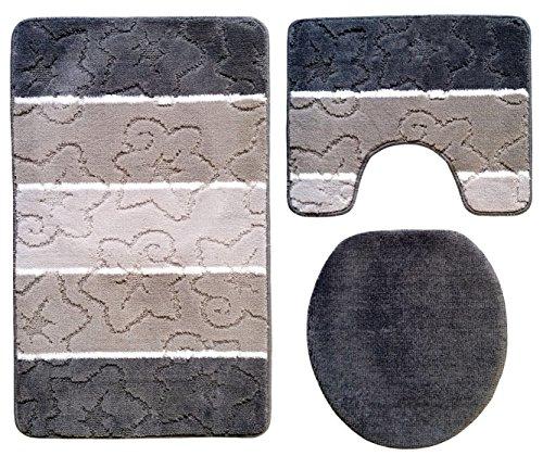 Ilkadim Orion Badgarnitur 3 TLG. Set 60x100 cm, farbig gestreift, WC Vorleger mit Ausschnitt für Stand-WC (dunkelgrau grau)