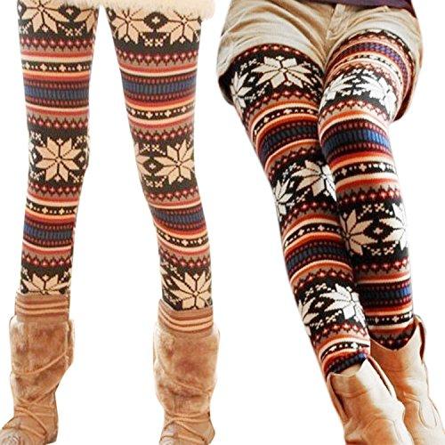 Zeagoo Women's Soft Knitted Warm Multi-Patterns Tights Leggings Black