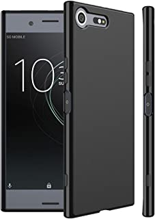 Xperia XZ Premium ケース SO-04J シンプル 滑りにくい ソフト マット仕上げ TPU シリコン ボタン押しやすい WOEXET エクスペリア XZ Premium カバー ブラック 透明性なし