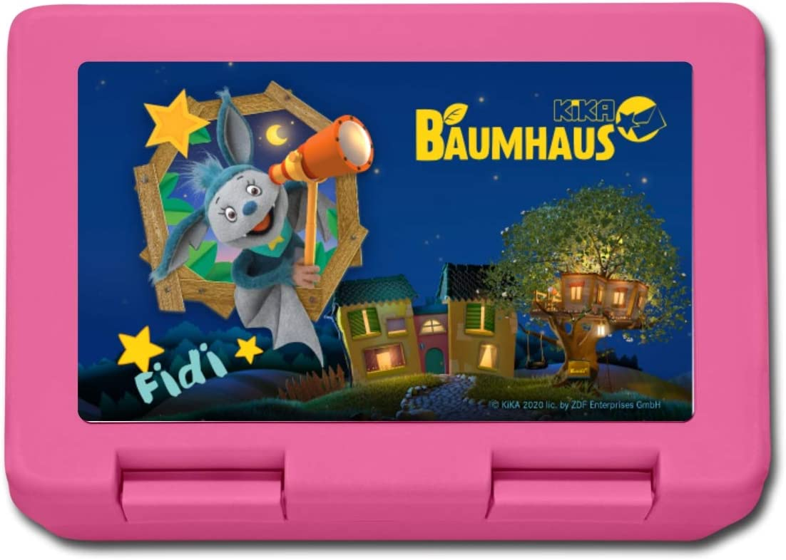 KiKA-Baumhaus Mit Fidi Teleskop Lunchbox Pink