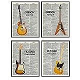 Iconic Guitars Wall Art Set - Vintage Fender Stratocaster, Telecaster, Gibson Les Paul, Flying V - Gift for Musician, Guitar Player, Musician - Wall Art Posters, Home Decor for Bedroom, Living Room