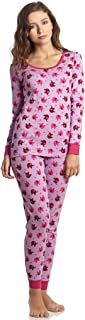 Women's Pajamas Fitted Printed Owl 2 Piece Pjs Set 100% Cotton Sleep Pants Sleepwear (XSmall-XLarge)