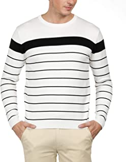 PJ PAUL JONES Men's Crew Neck Striped Pullover Sweater Long Sleeve