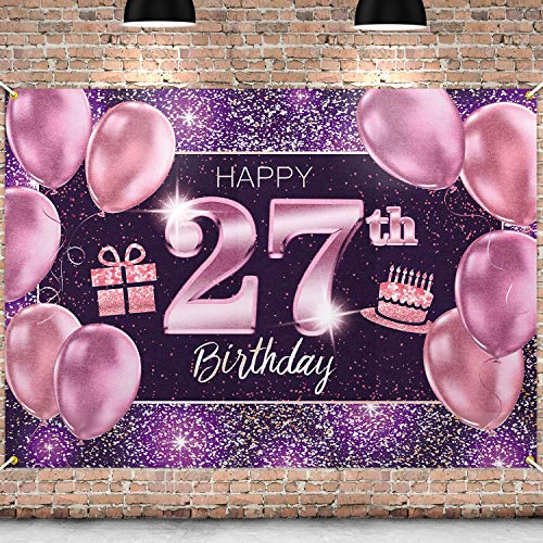 PAKBOOM Happy 27th Birthday Banner Backdrop - 27 Birthday Party Decorations Supplies for Women Her - Pink Purple Gold 4 x 6ft