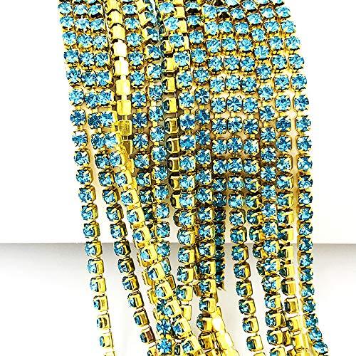 AUBERSIT 5 Yardas/Paquete de Cadena de Diamantes de imitación con Fondo Dorado, Accesorios de Bricolaje, Azul Lago, ss6 2.0 mm