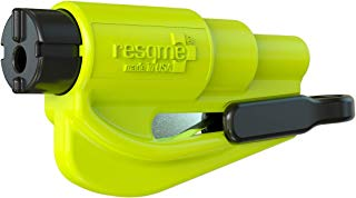 resqme, Inc 01.100.09 Single Pack Resqme The Original Emergency Keychain Car Escape Tool, 2-in-1 Seatbelt Cutter and Window Breaker, Made in USA, Safety Yellow