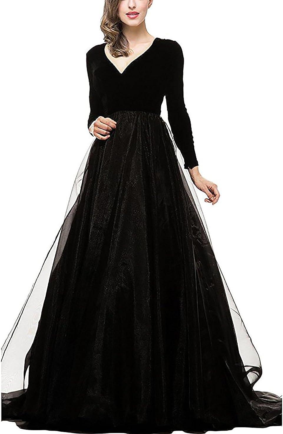 DarlingU Women's Long Sleeve service Prom San Jose Mall Evening Maxi B Dresses Pockets