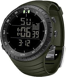ساعة رياضية رقمية الكترونية بضوء ليد وتصميم عسكري مقاوم للماء للنشاطات الخارجية ومظهر انيق للرجال، لون اسود