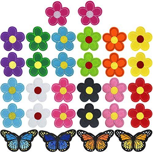 30 Piezas Flores Mariposa Parche Termoadhesivo, Insignia Bordado Coser Hierro en Parches Costura de Apliques, DIY Pegatina de Parche, Decorativa Parches para Ropa Mochila Gorras Chaqueta Bolsas