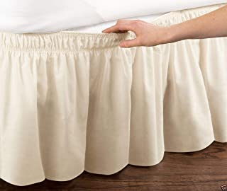 Bed Skirt, Skirt Elastic Dust Ruffle Easy Fit Wrinkle and Fade Resistant Solid Color Hotel Quality Fabric. (CQ-2,200 * 20...