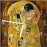 Wallario Glas-Uhr Echtglas Wanduhr Motivuhr; in Premium-Qualität; Größe: 20x20cm; Motiv: Der Kuss von Klimt