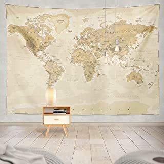 Summor Tapestry Map World Vintage Asia Europe South City Topography America Africa Japan Hanging Tapestries 60 X 80 Inch W...