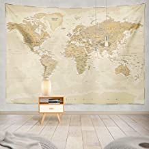Summor Tapestry Map World Vintage Asia Europe South City Topography America Africa Japan Hanging Tapestries 60 x 80 inch Wall Hanging Decor for Bedroom Livingroom Dorm