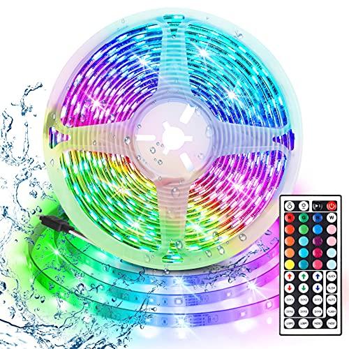 Tiras LED RGB 3m, AUELEK USB Tiras LED 180 LEDs 5050 Tira LED Exterior con 20 Colores/ 6 Modos/ Impermeable IP65/ Control Remoto de 44 Botones para TV, Techo, Jardín, Casa, Bar, Fiesta, Navidad, Bodas