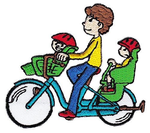 Fahrrad Mutter mit Kinder Aufnäher Bügelbild