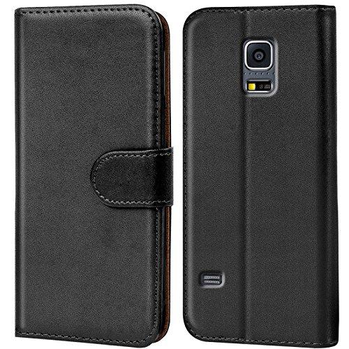 Conie Handyhülle für Samsung Galaxy S5 Mini Hülle, Premium PU Leder Flip Case Booklet Cover Weiches Innenfutter für Galaxy S5 Mini Tasche, Schwarz