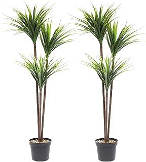 momoplant Artificial Plants Dracaena - 55inch Yucca Plant Tropical Yucana Palm Tree Home Decor Office Garden, Set of 2 (4....