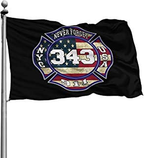 Lkbihl 911 343 Fallen Firefighters Remembrance Decorative Garden Flags, Outdoor Artificial Flag for Home, Garden Yard Decorations 4x6 Ft