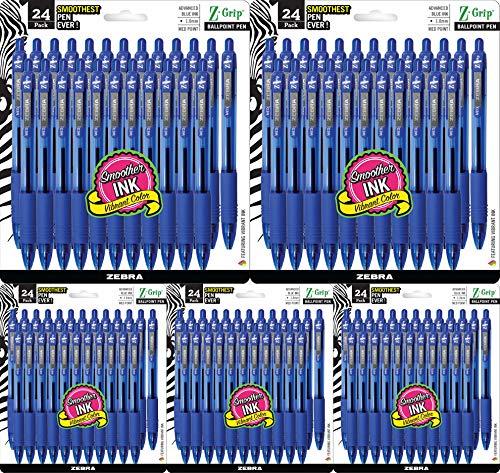 Zebra Pen Z-Grip Retractable Ballpoint Pen, Medium Point, 1.0mm, Blue Ink, 5 Pack of 24 (Packaging may vary)