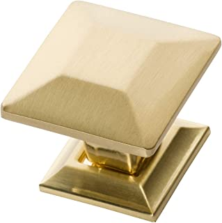 Southern Hills Brushed Brass Cabinet Knobs - 1.25 Inch Square - Pack of 5 - Satin Brass Drawer Pulls SHKM006-BRS-5