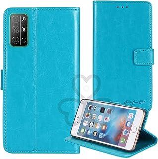 TienJueShi ブルー ビジネス レトロ 耐汚れ スタンド 財布 TPU Silicone シリコーン レザー 合皮 Case Cover Huawei Honor 30S 6.5 インチ カード収納 カバー ケース ポーチ 手帳型