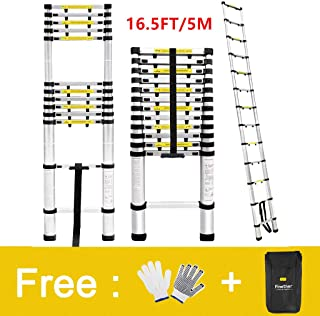 Finether Telescopic Extension Ladder|16.4ft Portable Aluminium Telescoping Ladder with Finger Protection Spacers for Home Loft Office, EN131 Certified, 330 Lb Capacity