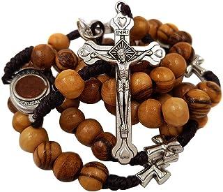 Talisman4U Olive Wood Catholic Rosary Prayer Beads with Jerusalem Holy Soil Centerpiece & Certificate Blue Velvet Rosary P...