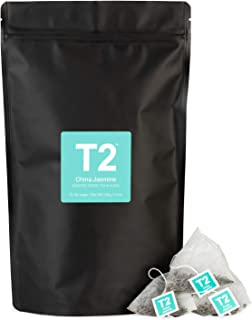 T2 Tea China Jasmine Green Tea Bags in Resealable Foil Refill Bag, 60-Count