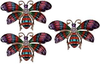HUI JIN Lot de 3 épingles en émail Motif papillon élégant Accessoire de mode pour pull, écharpe