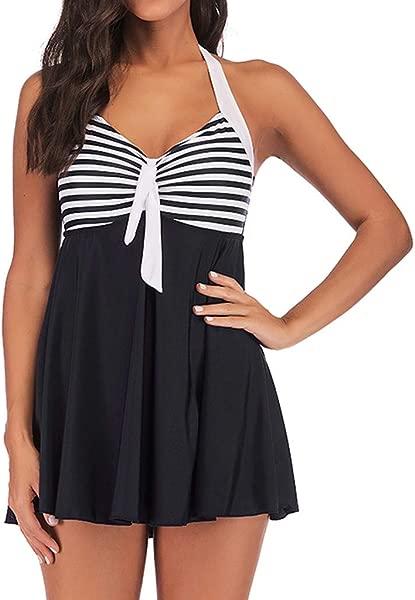 Women Halter Tankini Set Strip Color Block Swimsuit Flounce Swing Open Back Swimwear