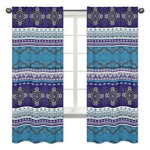Boho Chic Bohemian Purple Turquoise Blue Grey Mandala Decorative Window Treatment Panels Curtains Drapes Covering Bedroom Living Room Decor Indian Indie Ethnic Colorful Hipster Hippie set of 2 - 42x84