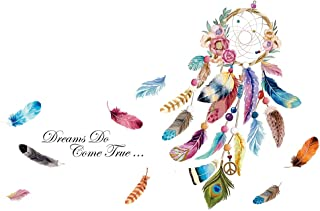 decalmile Dream Catcher Feathers Wall Decals Quotes Dreams Come True Wall Stickers Bedroom Living Room Wall Decor (Finishe...