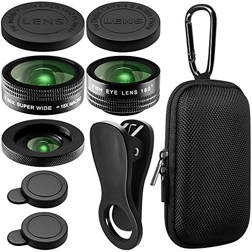 AFUNTA Camera Lens Kit Compatible iPhone Samsung Smartphones, 0.36X Super Wide Angle Lens + 180°Fisheye Lens & 15X Macro Lens, 3 in 1 HD Clip-on Cell Phone Lens