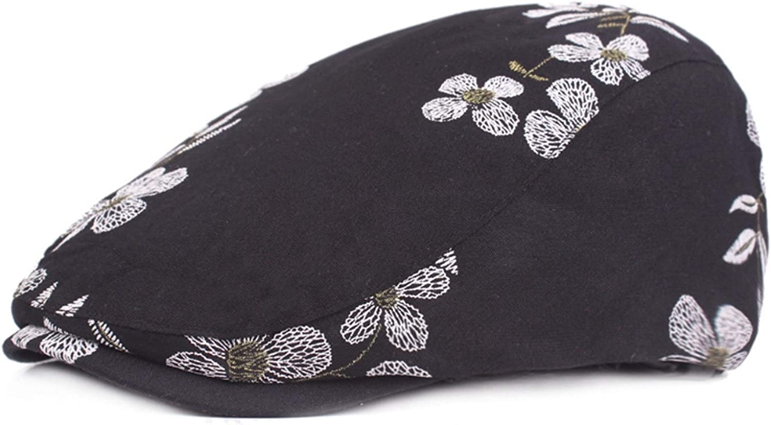 JUNMIN Ladies Chinese Style Cotton Beret Women's Embroidered Flower Travel Cap (Color : Black)