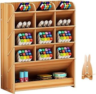Wooden Desk Organizer, Multi-Functional DIY Pen Holder Storage Box Desktop Stationary Storage Rack for Home, Office and School (B12 Cherry Color)