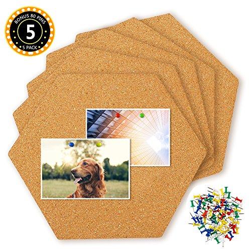 Hangnuo 5 Pack Cork Tegels Zelfklevend met 80 PCS Pushpins, Mini Wall Hexagon Bulletin Boards voor afbeeldingen, notities, Home Decor en Office Memo