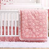Audrey Coral Floral Embroidered 3 Piece Crib Bedding Set by The Peanut Shell