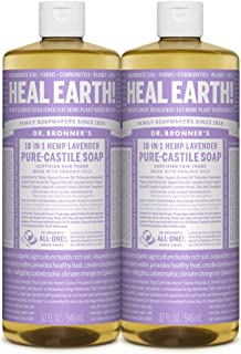 Dr. Bronner's - Pure-Castile Liquid Soap (Lavender) - Made with Organic Oils, 18-in-1 Uses: Face, Body, Hair, Laundry, Pets and Dishes, Concentrated, Vegan, Non-GMO, 32 Fl Oz (Pack of 2)