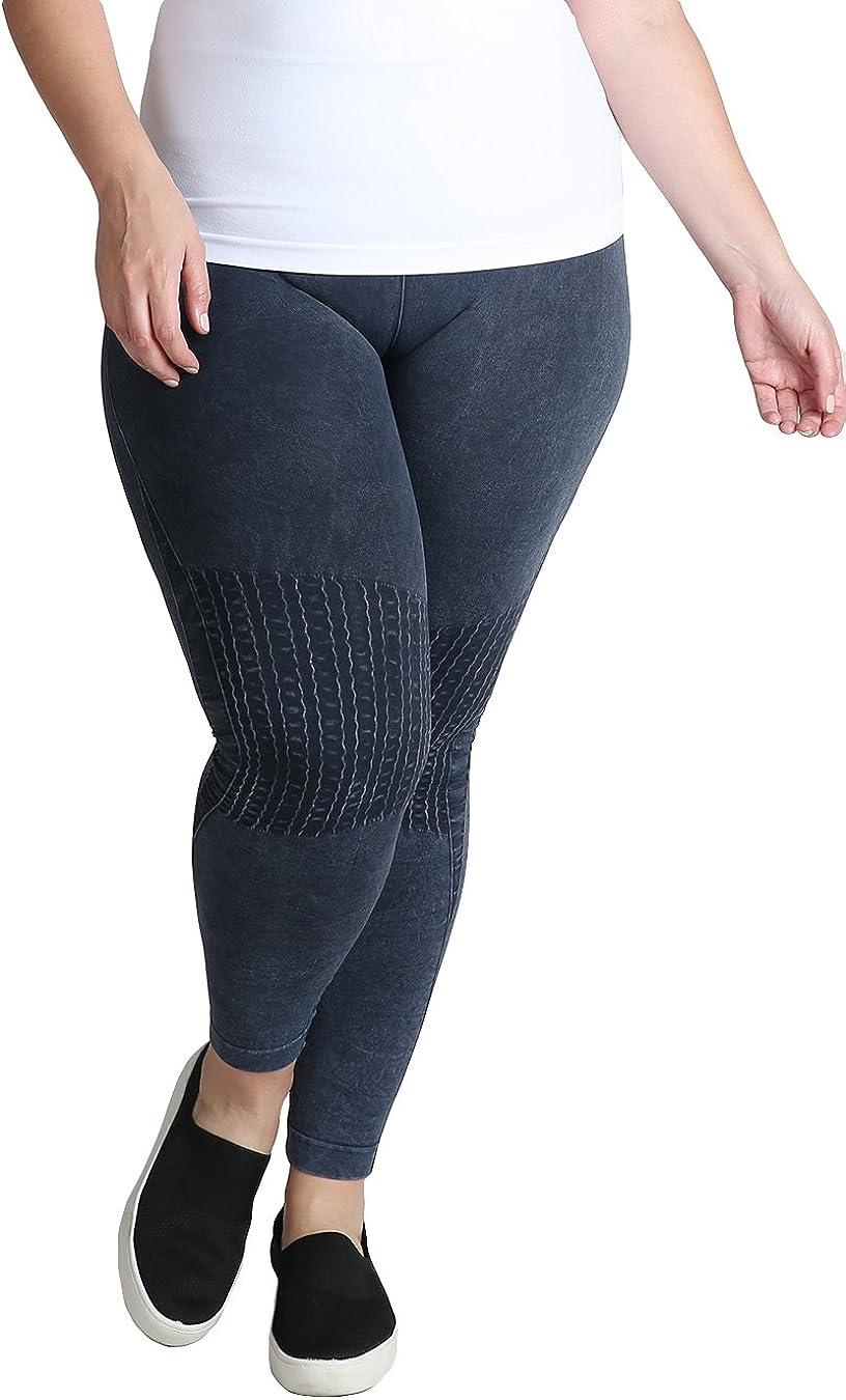 NIKIBIKI Women Seamless Vintage Knee Shirring Long Leggings, Plus Size