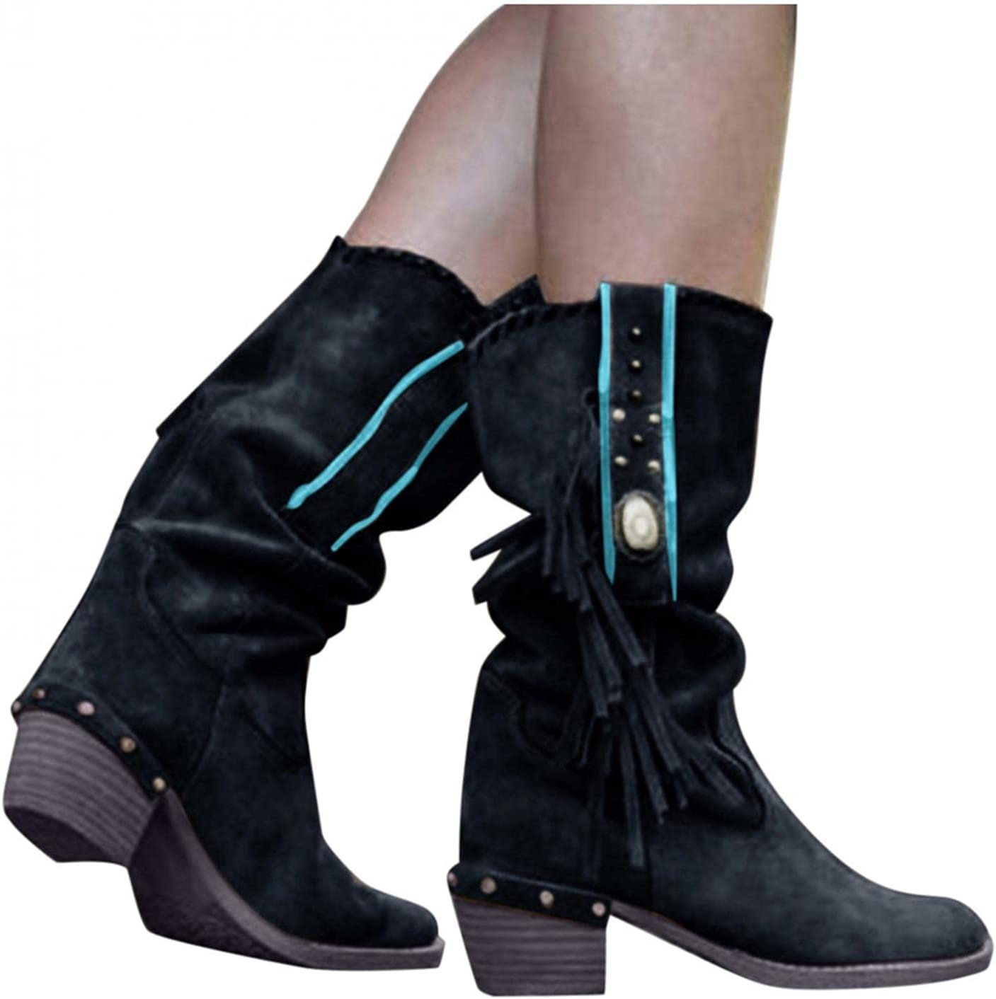 NOLDARES Cowboy Boots for Women Flock Tassels Hiking Studded Winter Pointed Toe Mid-Calf Boots Block Heel Suede Retro Boots