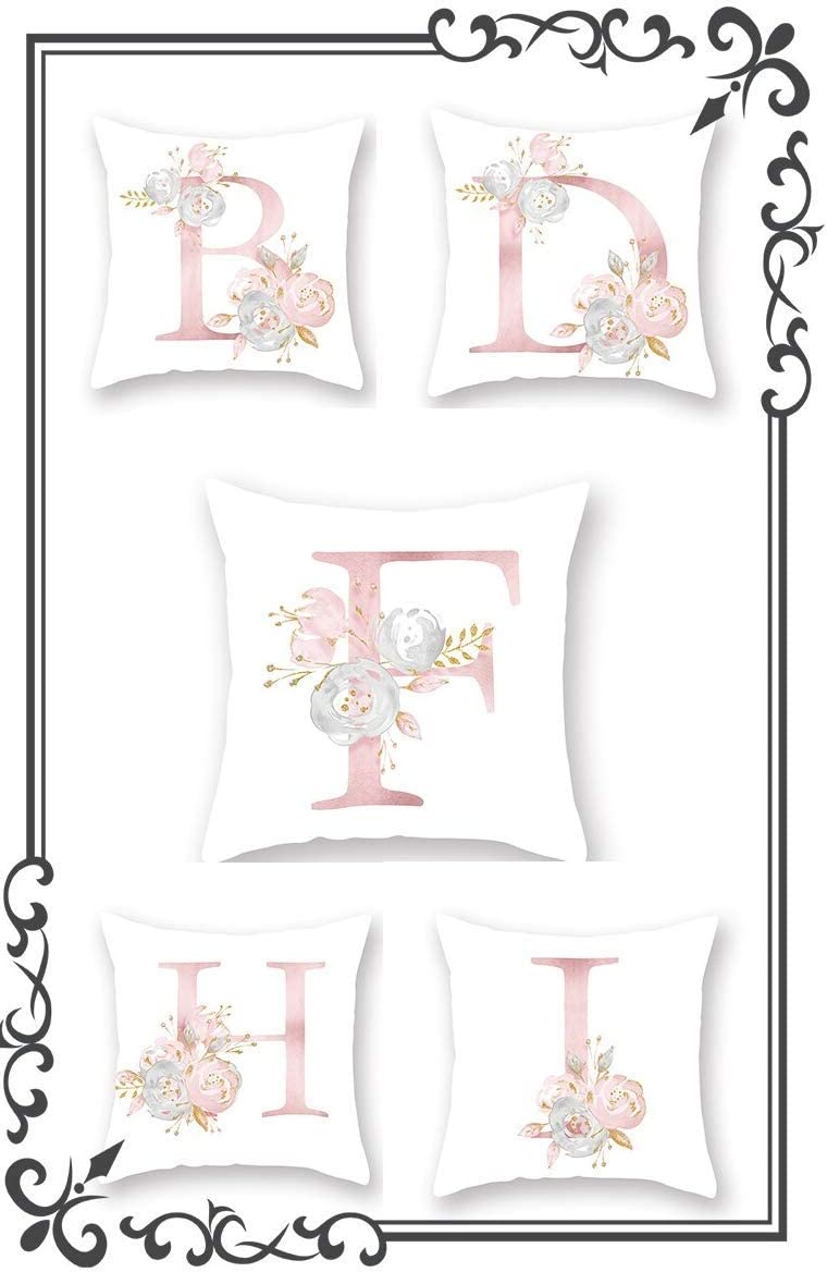 Letra K Sof/á 45 x 45 cm Cama Flores Nombre Alfabeto Color blanco y rosa Inicial Rosa Coj/ín decorativo Funda de coj/ín Casa Dormitorio