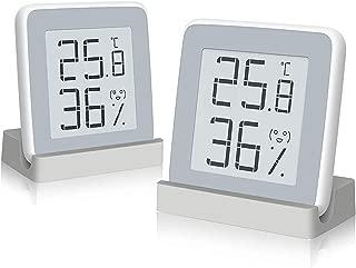 Homidy Digital Hygrometer Indoor Thermometer, 2 Packs Xiaomi Mijia 360°HD E-Ink Display Swiss Sensirion Industrial Grade High Accuracy Room Cigar Temperature Humidity Meter (2019 Special)