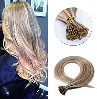 SEGO Pre Bonded Keratin Stick/I Tip Remy Human Hair Extension Cold Fusion Hair Piece for Women Smooth Straight 100 Strands/pack #12P613 Golden Brown&Bleach Blonde 18 inches 50g