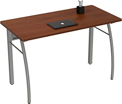 """Linea Italia Trento Modern Large Writing Easy to Assemble Metal Computer Desk with Wood Top 