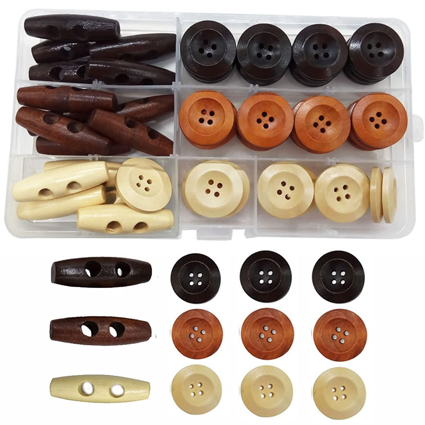IDOXE Large Round Wood Buttons for Crafts Wooden Toggle Button Assorted 1 inch 4 Hole Sewing DIY Supplies