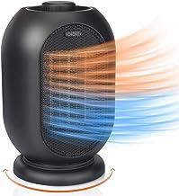 Wxyfl Portátil Calefactor de Ventilador Eléctrico Personal Ventilador Calefactor Eléctrico PTC Cerámica, Oscilación Automática Calefactor Aire Frio y Caliente para Hogar Oficina,Negro