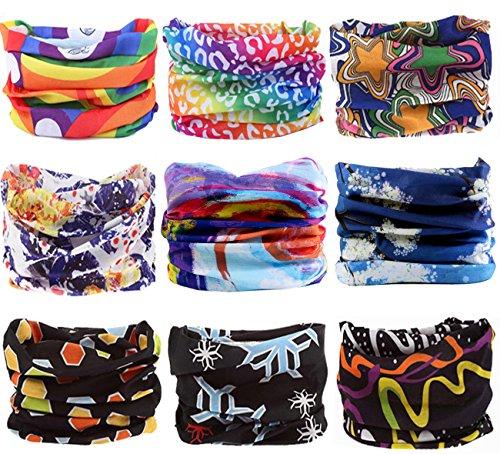 KINGREE 9PCS Outdoor Magic Scarf Elastic Seamless Bandana Scarf UV Resistence Sport Headwear...