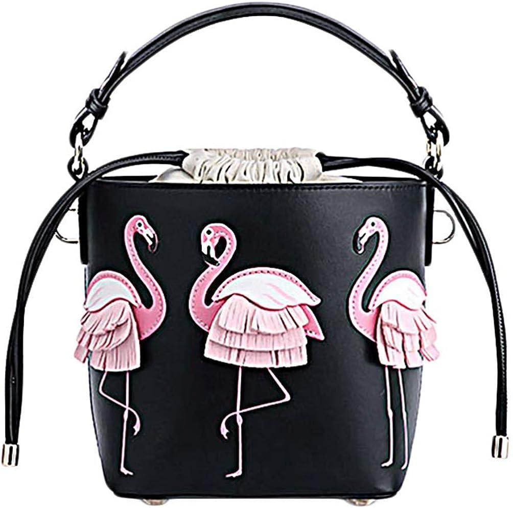 KESYOO Women Drawstring Bucket Bag Flamingo Pattern Crossbody Shoulder Purse Beach Tote for Shopping Travel